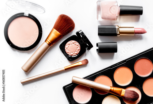 Fotografie, Obraz  decorative cosmetics nude on white background top view