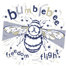 Print Insects. Flight Of The Bumblebee. Trend Print On A T-shirt. Cartoon Insects.