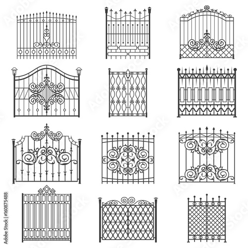 Obraz na plátně Iron gate line art set