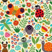 Seamless Pattern With Insect A...