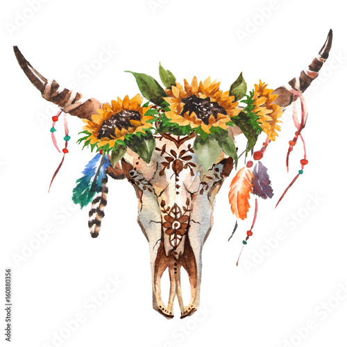Watercolor Isolated Bull S Head With Flowers And Feathers On White