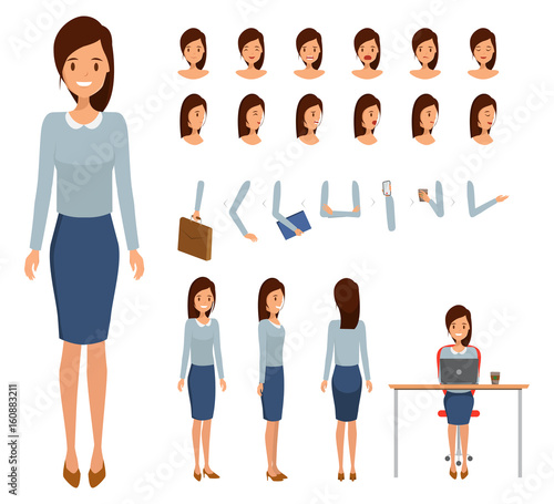 Woman character constructor for different poses. Set of various women's faces. Illustration vector isolated on white background.