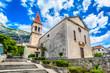 Makarska church. / Scenic view at famous historic and touristic landmark in Makarska town, Croatia.