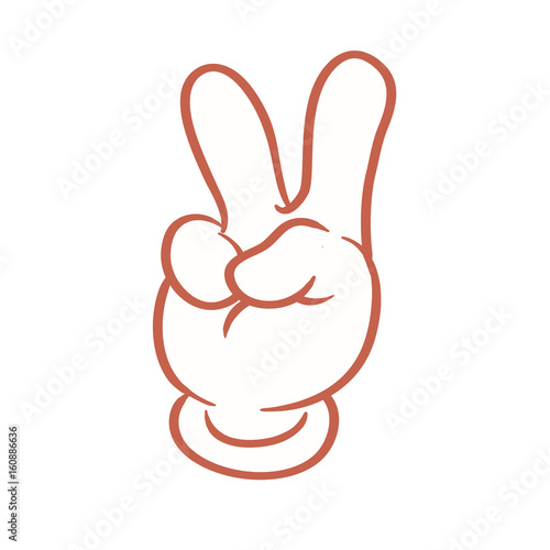 Cartoon Hand Peace Sign Or Emoticon Buy This Stock Vector And