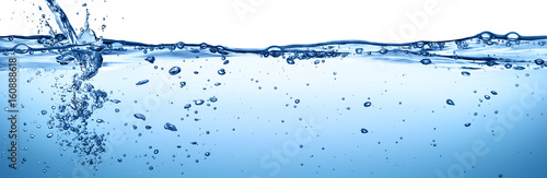 Fotografering  Splashing And Flowing Of Transparent Water Isolated On White
