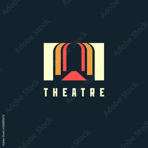 Theatre logo concept - vector illustration. Theatre, museum, bank or academy logo on dark background Fototapete