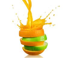 Green Apple And Splashing Oran...
