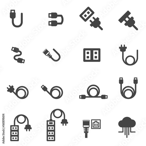 Cuadros en Lienzo  cable icons vector illustration