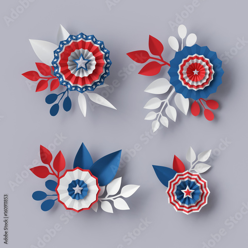 3d Render Digital Illustration Abstract Red Blue Paper Flowers