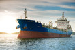 canvas print picture - Chemical tanker ship is anchored at sea.