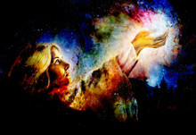 Beautiful Woman With Hands Holding Light, Computer Graphic From Painting. Cosmic Space Background.