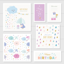 Cute Cards With Gold Glitter E...