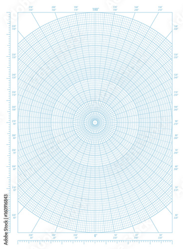 Blue Polar Coordinate Circular Grid Graph Paper Graduated Every 1