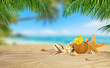 Tropical beach with coconut drink on sand, summer holiday background.
