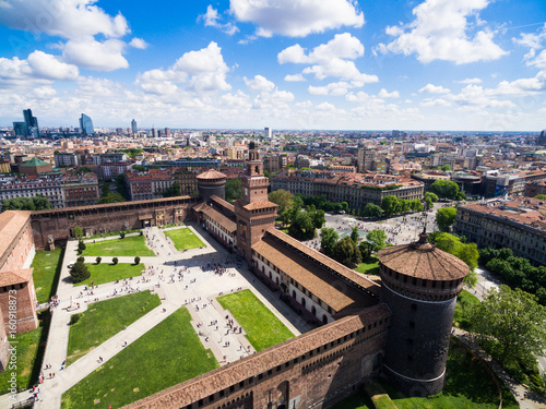 Staande foto Milan Aerial photography view of Sforza castello castle in Milan city in Italy