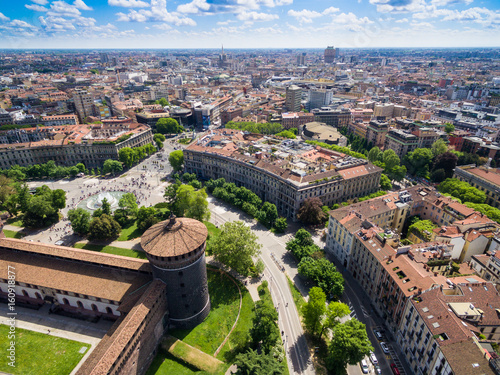 Poster Milan Aerial photography view of Sforza castello castle in Milan city in Italy
