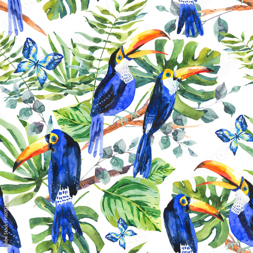 Foto op Canvas Draw Tropical watercolor seamless pattern with toucan, exotic green l