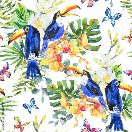 Garden Poster Bird-of-Paradise Summer watercolor seamless pattern with toucan, butterflies