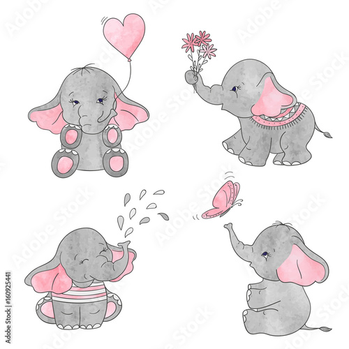 A Pink And A Blue Baby Elephant Cartoon Stock Illustration ... |Cartoon Baby Elephant Pink