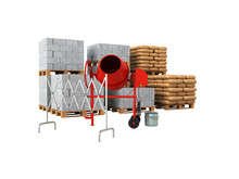 Building Material 3d On A White Background No Shadow
