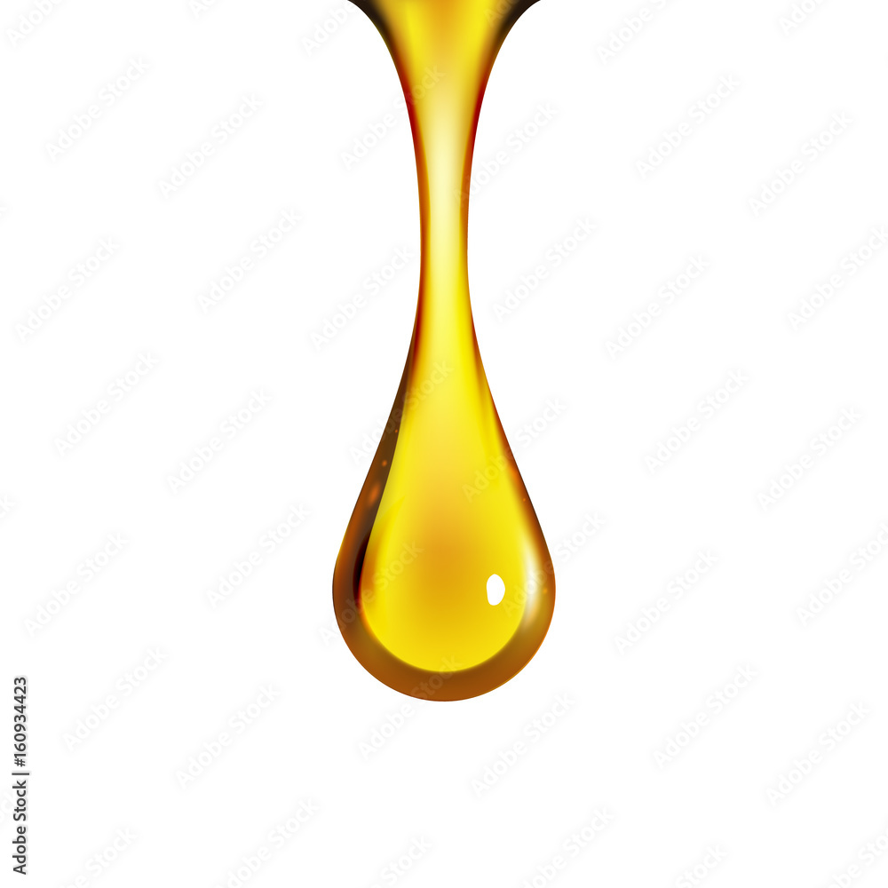 Fototapeta Golden oil drop isolated on white. Olive or fuel gold oil droplet concept. Liquid yellow sign
