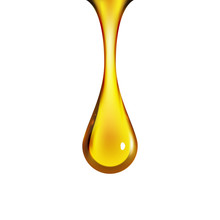 Golden Oil Drop Isolated On Wh...