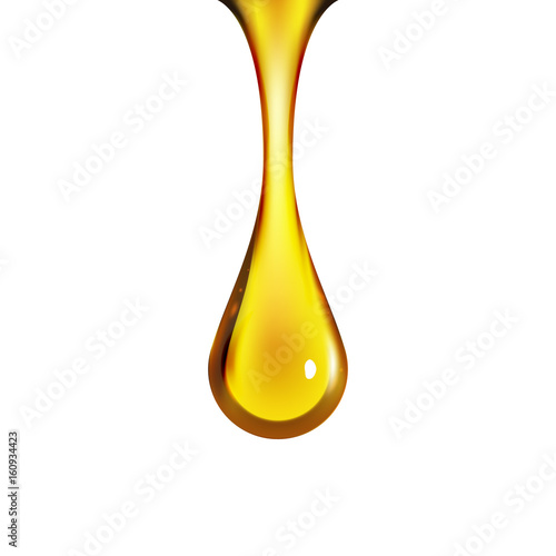 Valokuvatapetti Golden oil drop isolated on white