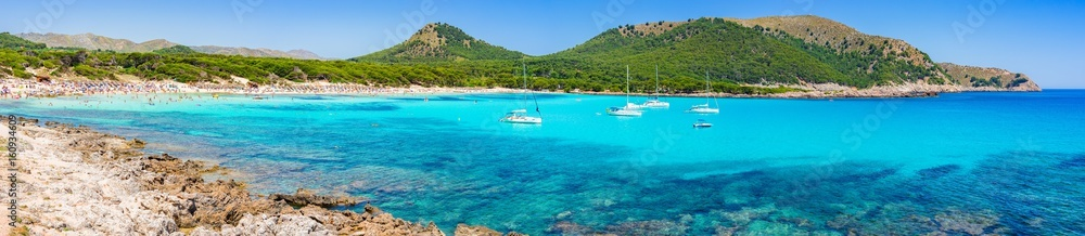 Fototapety, obrazy: Beautiful seascape panorama of beach Cala Agulla on Majorca island Spain