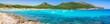Beautiful seascape panorama of beach Cala Agulla on Majorca island Spain