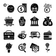 Business icons set, simple style