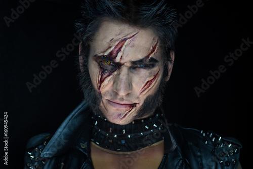 Professional make-up werewolf Wolverine Canvas Print