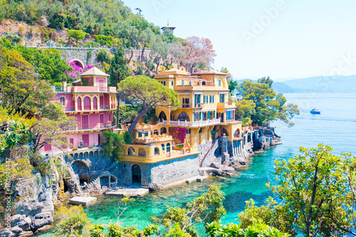 Beautiful sea coast with colorful houses in Portofino, Liguria, Italy. Summer stunning landscape.