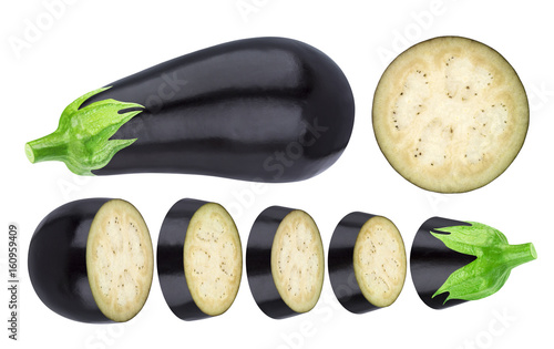 Fototapeta Aubergine elements isolated on white background. Whole and sliced eggplant, with clipping path obraz na płótnie