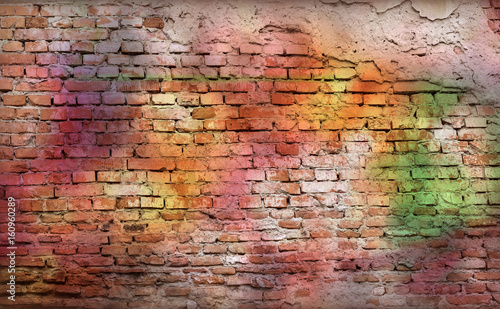 Spoed Foto op Canvas Graffiti Colorful brick wall