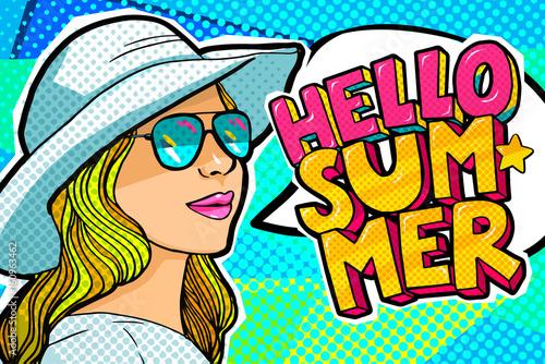 Hello Summer Message in pop art style
