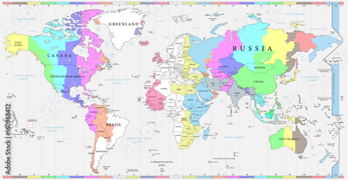 World time zones map, and political map of the world. Every ...