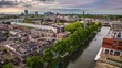 Utrecht city from top. General view from hight point at summer evening. 4K Time Lapse Footage.