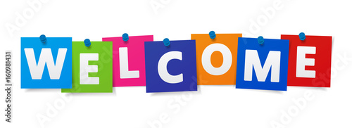 Fotografie, Obraz  Welcome Sign Colorful Paper Notes