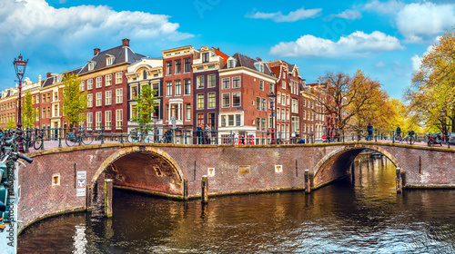 Poster Amsterdam Channel in Amsterdam Netherlands Holland houses under river