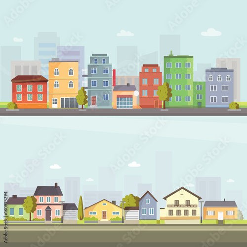 Tuinposter Lichtblauw City outdoor day landscape house and street buildings outdoor cityspace disign vector illustration modern flat background