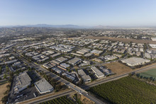 Aerial View Of Camarillo Industrial Park And Agricultural Fields In Ventura County, California.