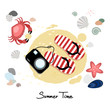 Summer time greeting card, invitation, beach background,crab, shell, starfish, camera and sandals. Vector illustration background.