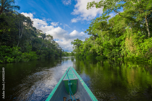 Travelling by boat into the depth of Amazon Jungles in Cuyabeno National Park, E Wallpaper Mural