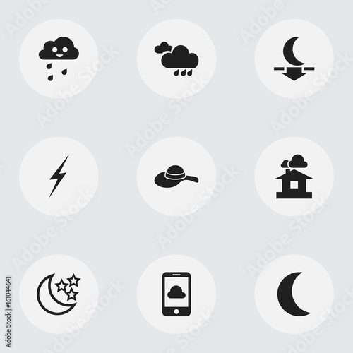 Set Of 9 Editable Weather Icons Includes Symbols Such As Bolt