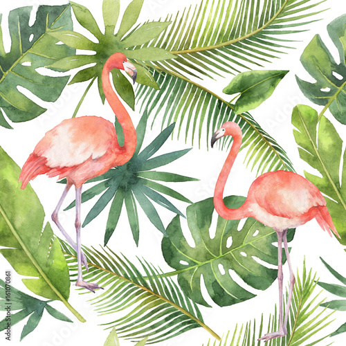 Fotografie, Tablou Watercolor seamless pattern of flamingo and palm trees isolated on white background