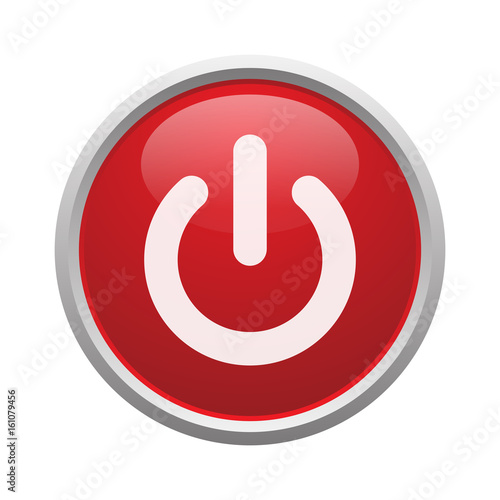 Fotografiet  Red power button vector isolated