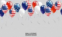 Seamless Realistic Ballon Border On Transparent Background. USA Patriotic Colors Ballons. Vector