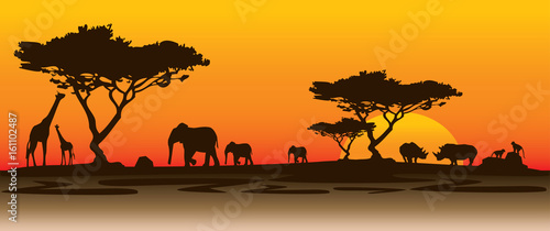 Poster Chocolate brown rhino landscape africa