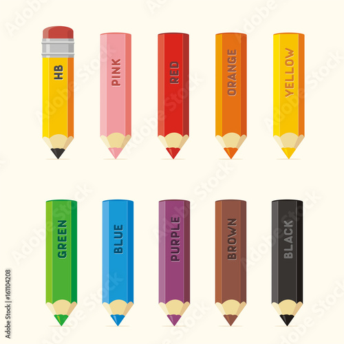set isolated colored pencils with color name collection colored