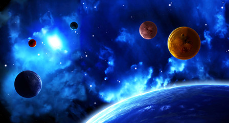Space scene with planets and nebula
